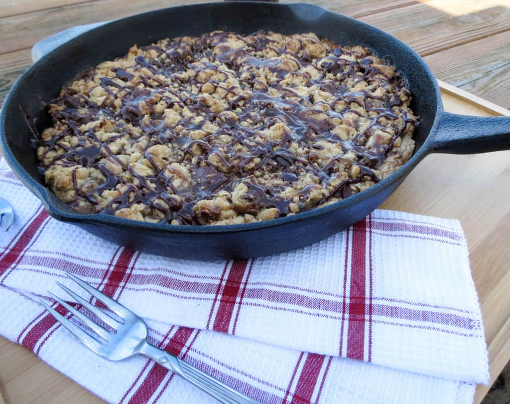 Nutella and Homemade Caramel Chocolate Chip Cookie Skillet