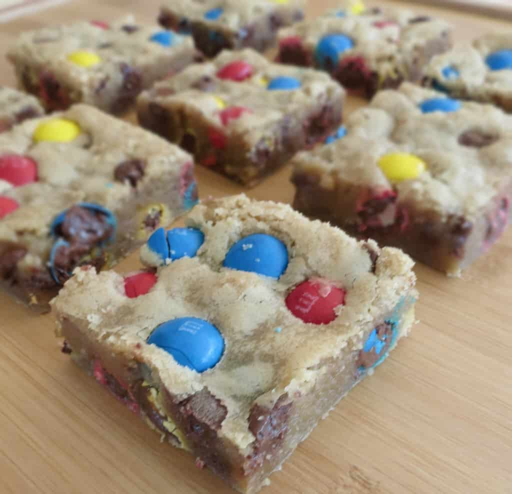 Chocolate Chip M&M Blondies