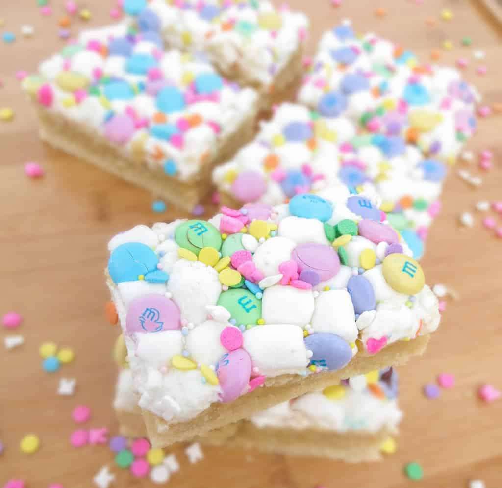 Chewy Marshmallow M&M Sugar Cookie Bars