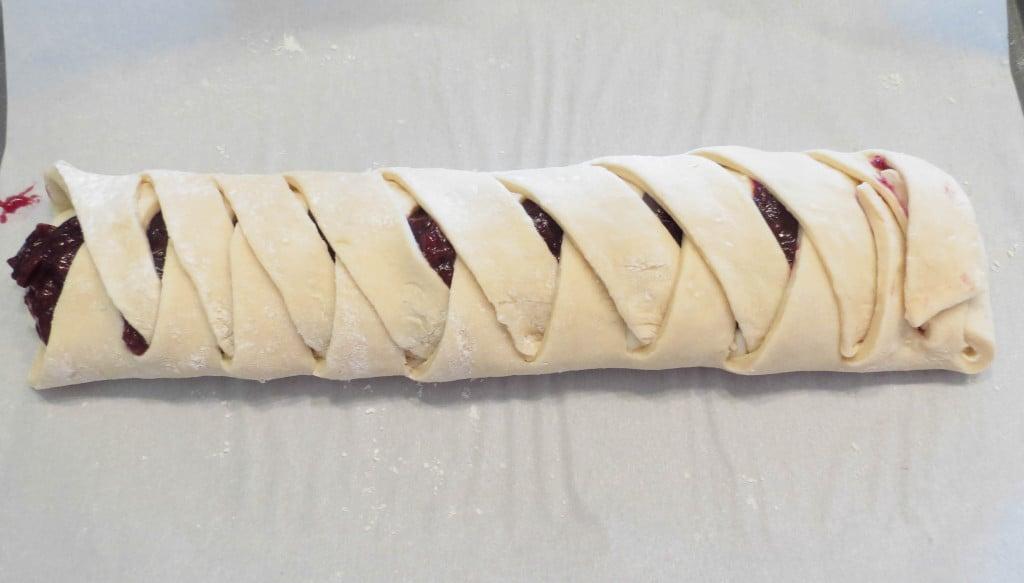 Cherry Cheese Danish Braid With Vanilla Glaze