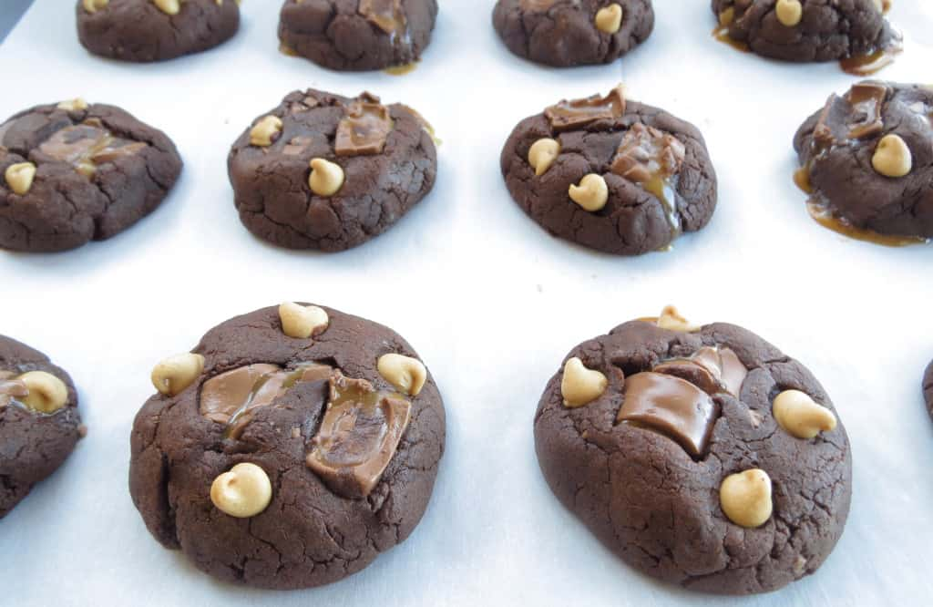Chocolate Rolo Double Peanut Butter Cookies