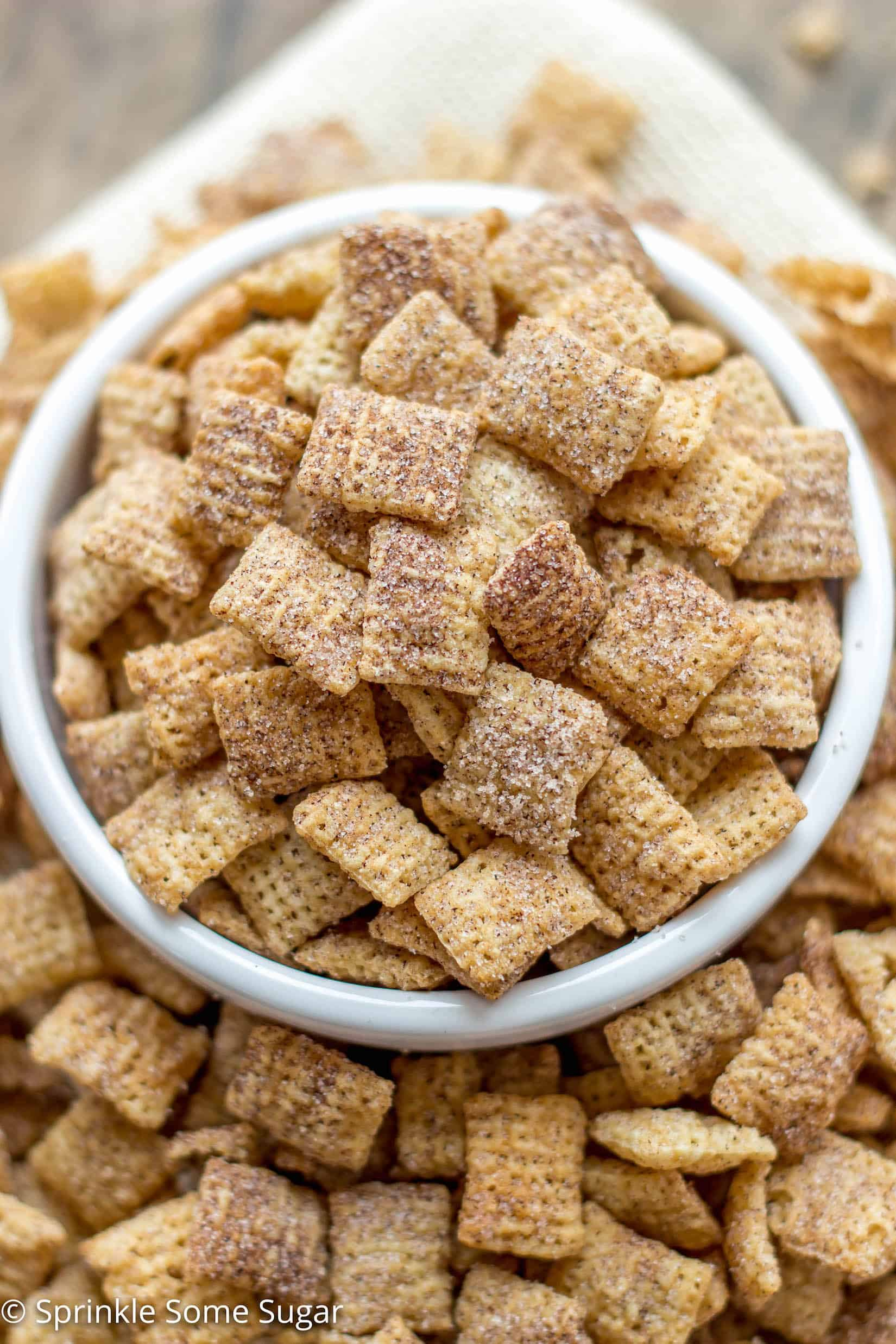 crunchy rice chex cereal is coated in cinnamon sugar for the easiest and most addicting snack - Christmas Crack Recipe Chex