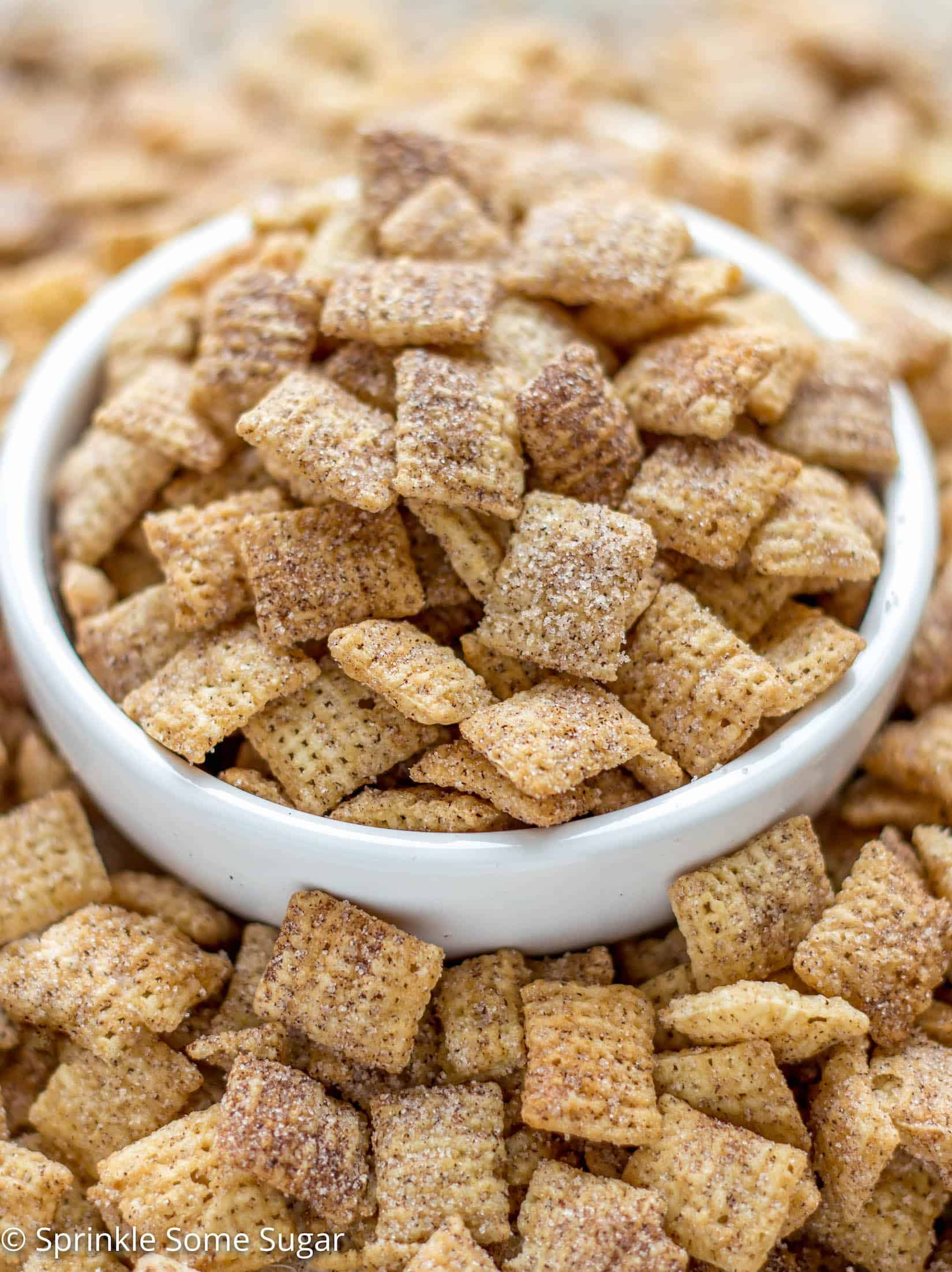 Crunchy rice chex cereal is coated in cinnamon sugar for the easiest and most addicting snack ever created. - Cinnamon Sugar Chex Mix