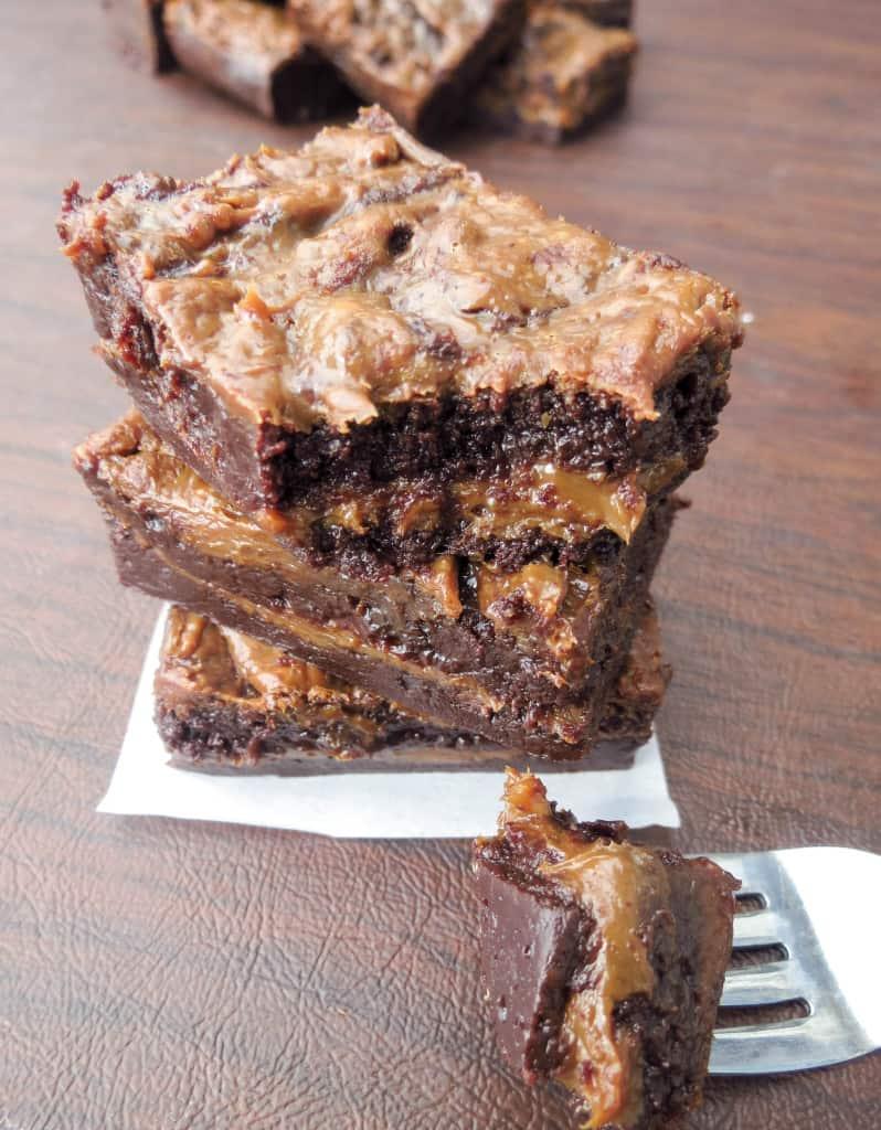 Dulce De Leche Stuffed and Swirled Super Fudgy Brownies