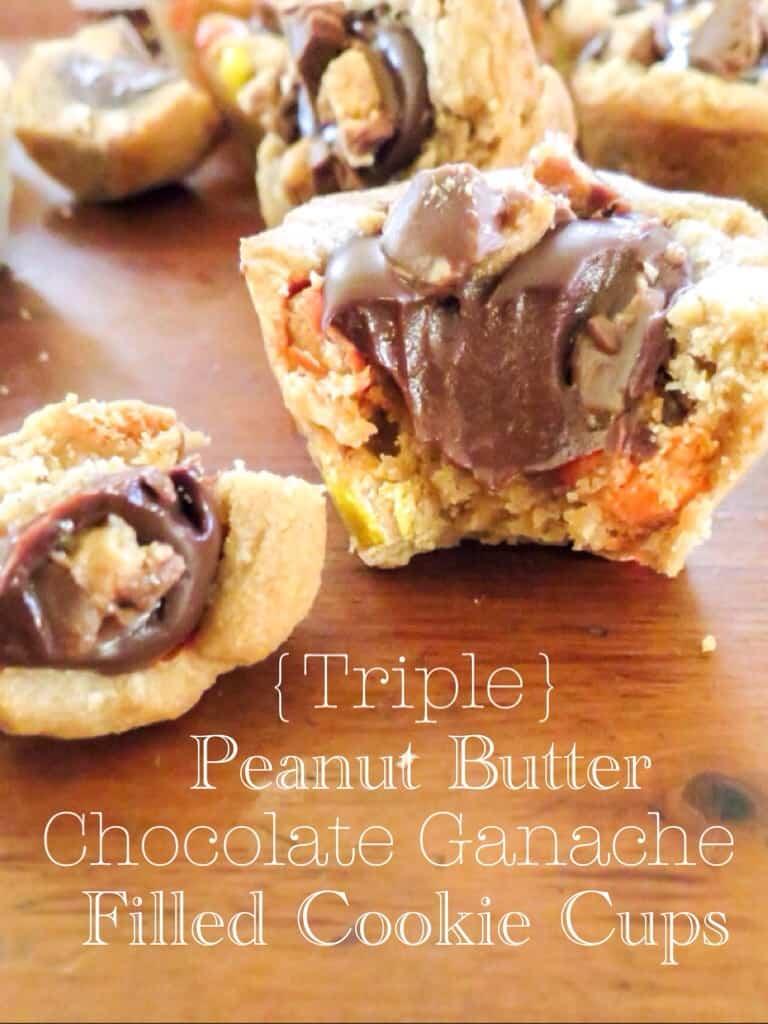 Triple Peanut Butter Chocolate Ganache Filled Cookie Cups