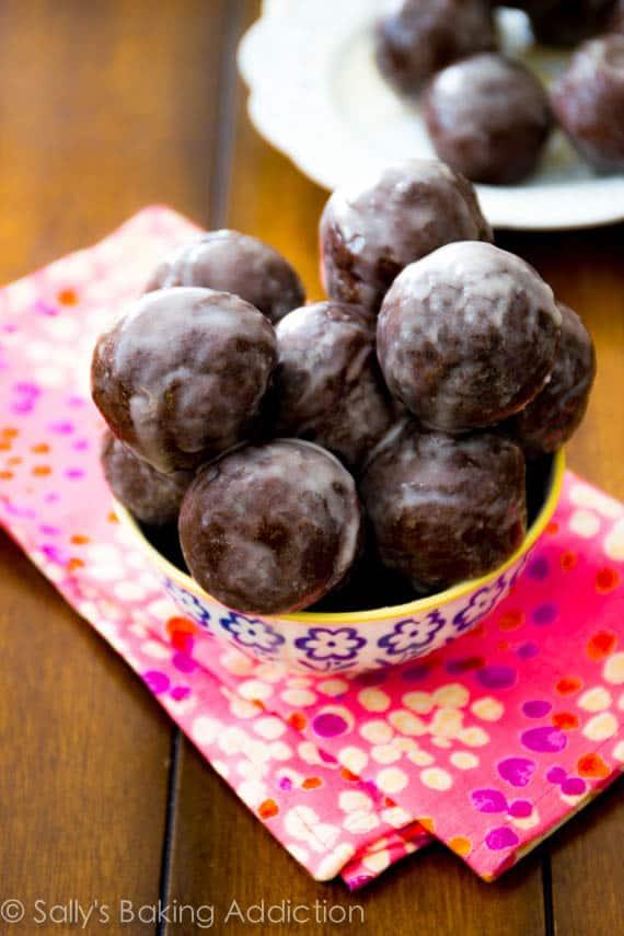 Glazed Chocolate Donut Holes - Sally's Baking Addiction