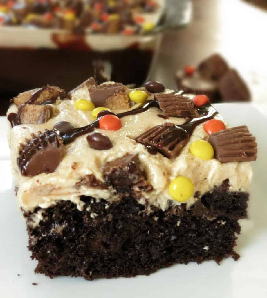 The {Ultimate} Peanut Butter Chocolate Poke Cake