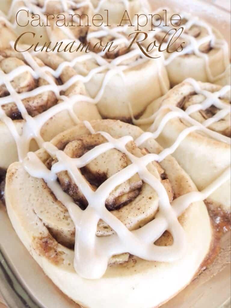 Caramel Apple Cinnamon Rolls with Brown Sugar Cream Cheese Frosting - Sprinkle Some Sugar