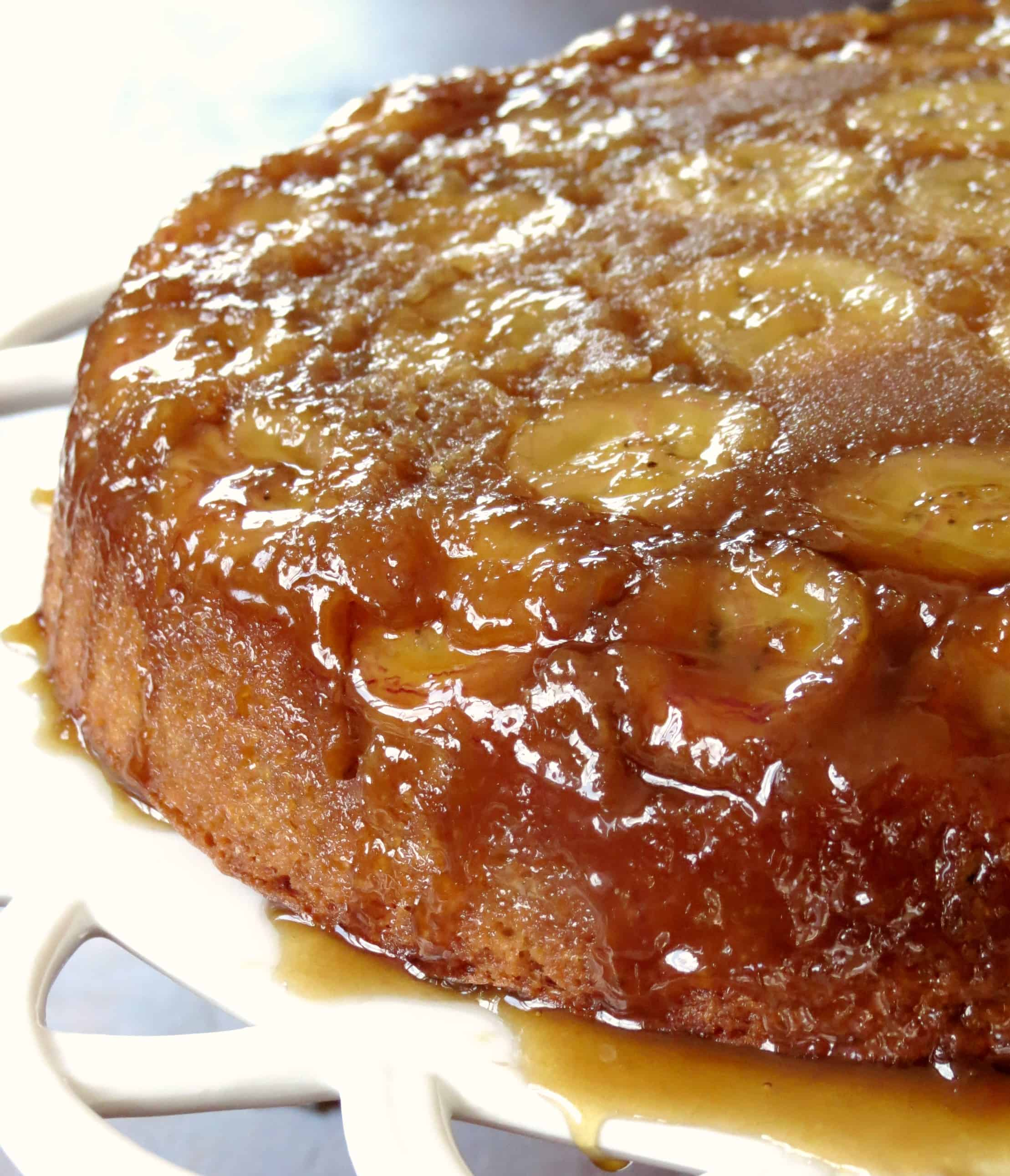 This banana cake is full of flavor and topped with a caramelized brown ...