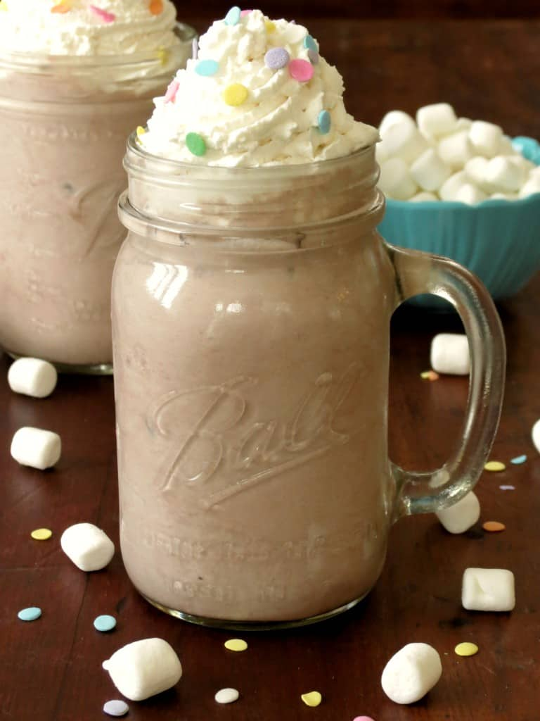 Creamy Frozen Hot Chocolate with Homemade Whipped Cream - Sprinkle Some Sugar