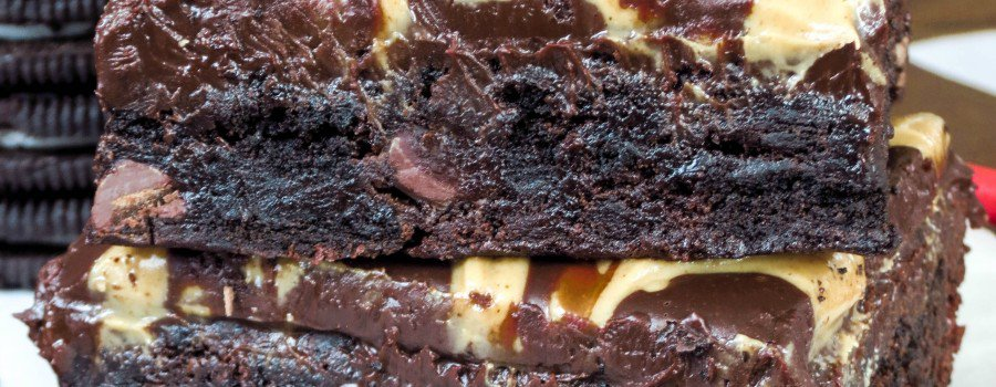 Peanut Butter Swirl Ganache Oreo Brownies