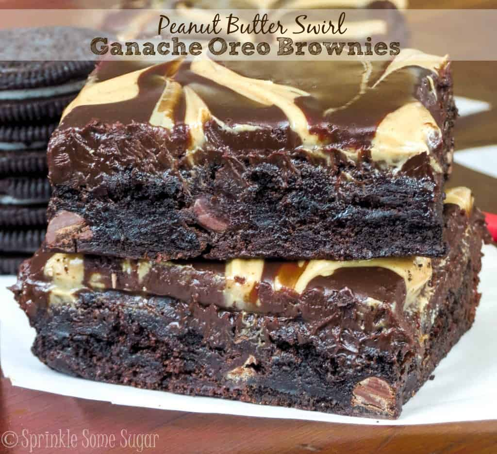 Peanut Butter Swirl Ganache Brownies - Sprinkle Some Sugar