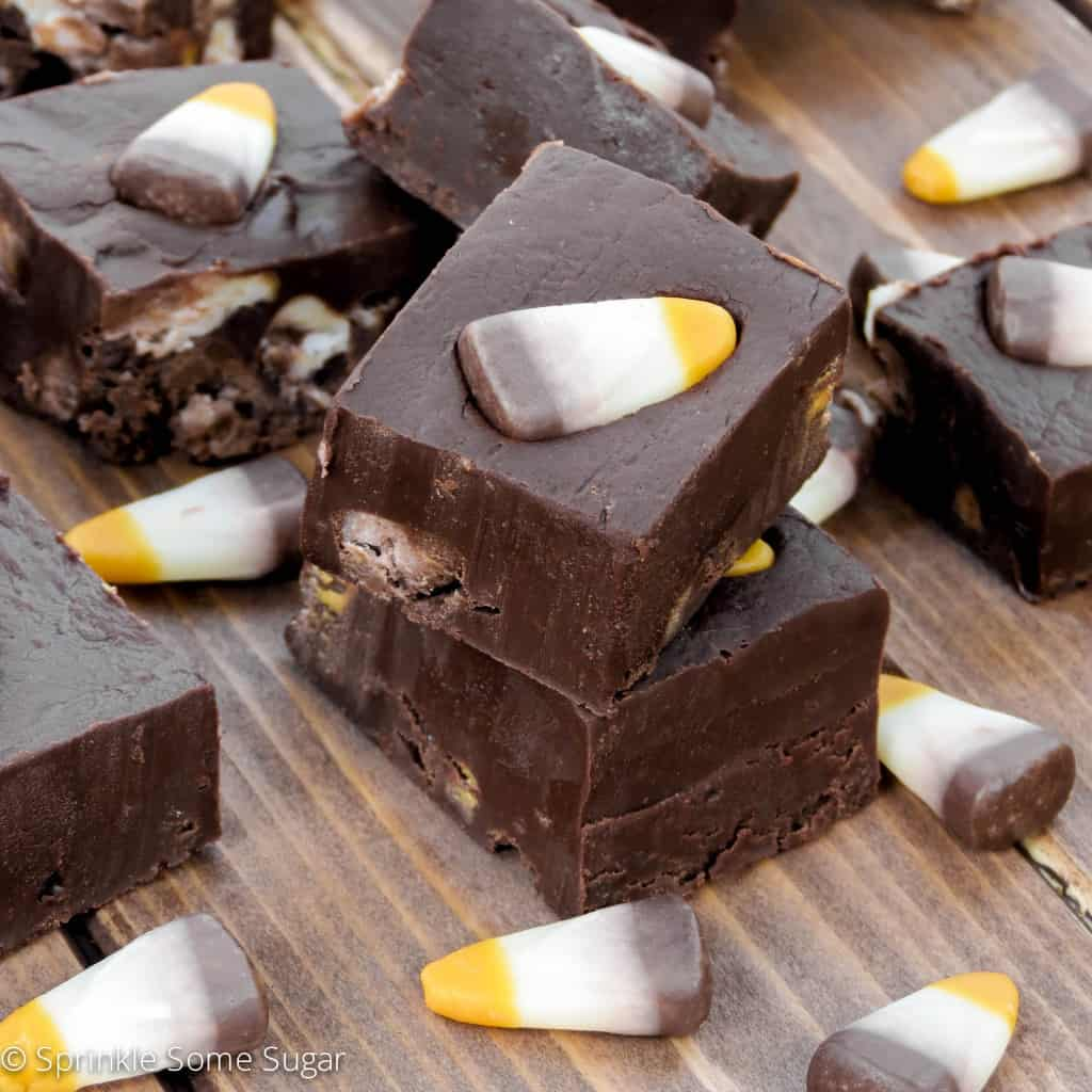 Creamy Chocolate S'mores Candy Corn Fudge - Sprinkle Some Sugar