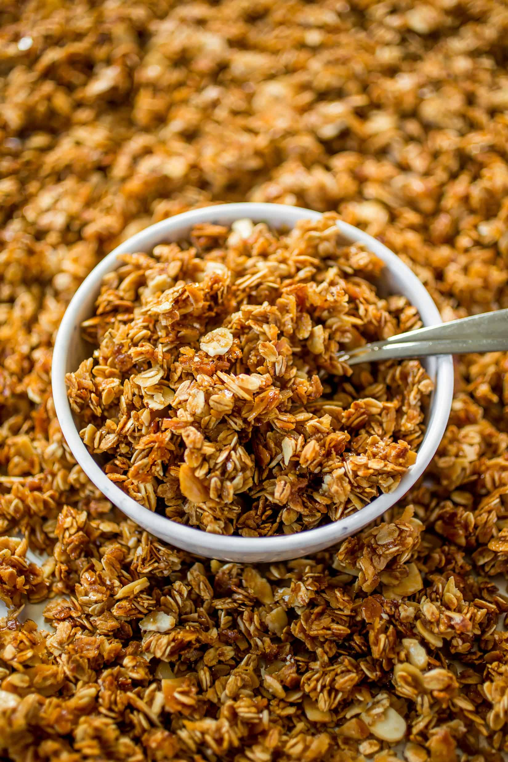 Vanilla Coconut Almond Granola - Flavors of vanilla, coconut and almond fill this healthier spin on granola!
