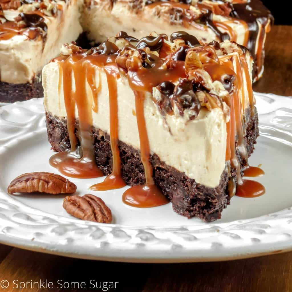 No Bake Caramel Turtle Cheesecake Sprinkle Some Sugar