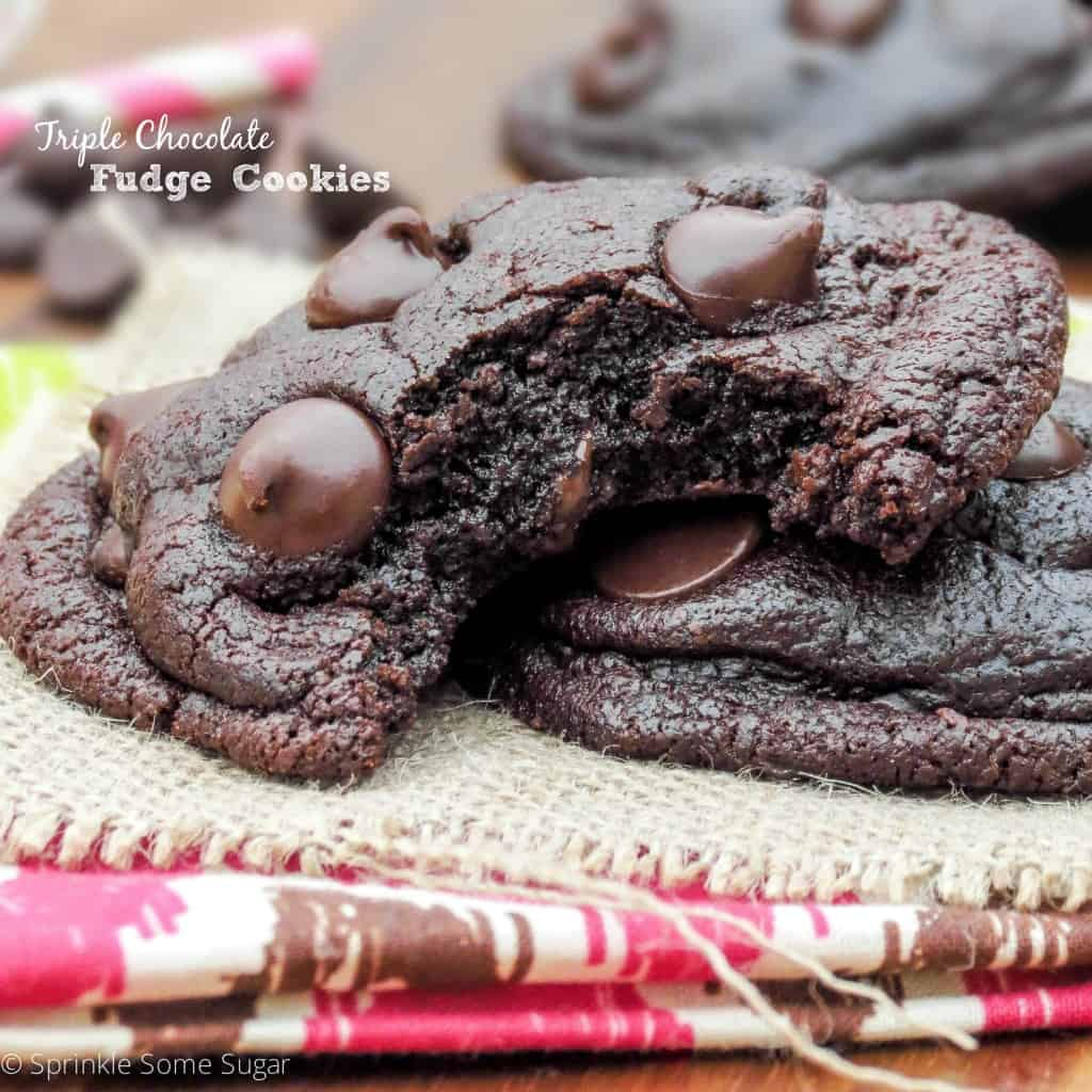 Triple Chocolate Fudge Cookies - Sprinkle Some Sugar