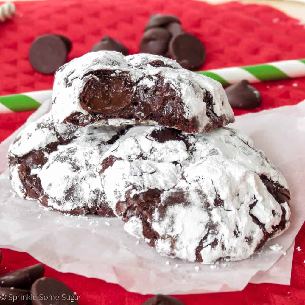 Gooey Dark Chocolate Truffle Cookies - Sprinkle Some Sugar