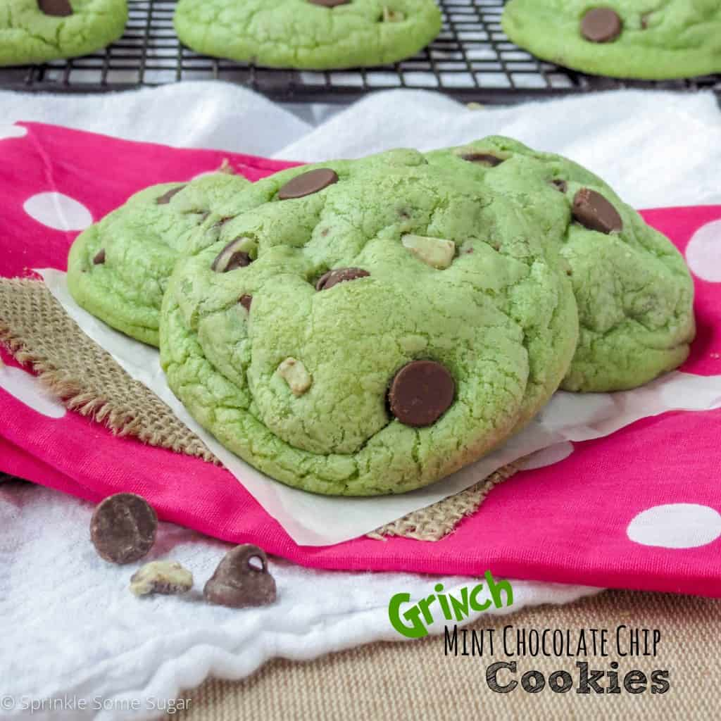 Grinch Mint Chocolate Chip Cookies - Sprinkle Some Sugar