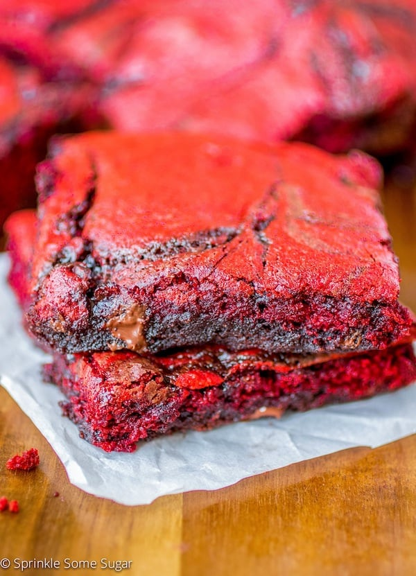 Red Velvet Swirl Brownies - Sprinkle Some Sugar