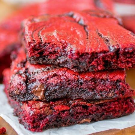 Red Velvet Swirl Brownies - Sprinkle Some Sugar