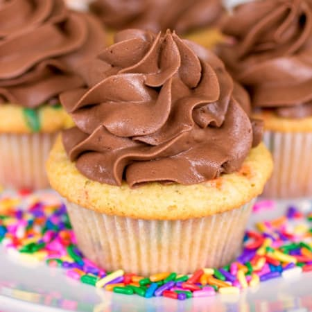 Homemade Funfetti Cupcakes With Nutella Frosting - Sprinkle Some Sugar