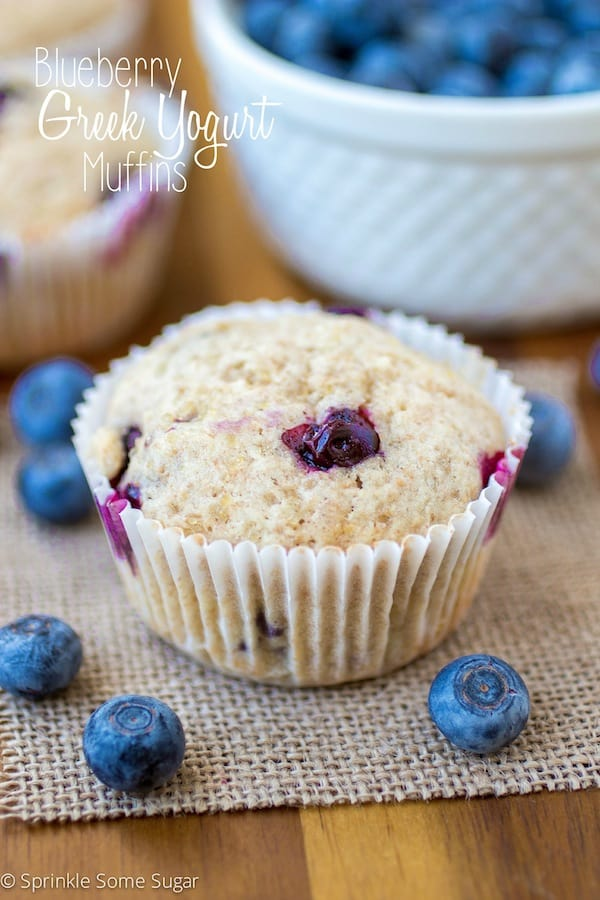 Blueberry Greek Yogurt Muffins - Sprinkle Some Sugar