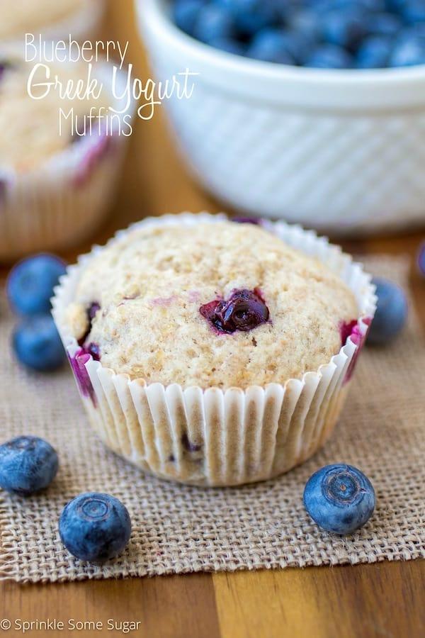 Blueberry Greek Yogurt Muffins - Sprinkle Some Sugar