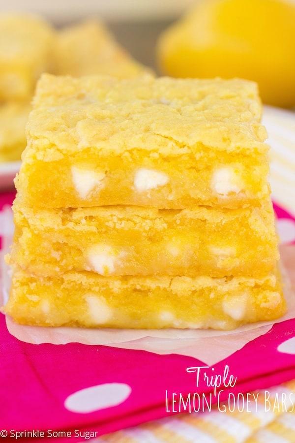 Triple Lemon Gooey Bars - Sprinkle Some Sugar