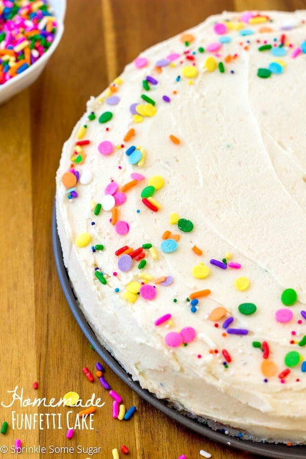 Homemade Funfetti Cake With Fluffy Vanilla Frosting