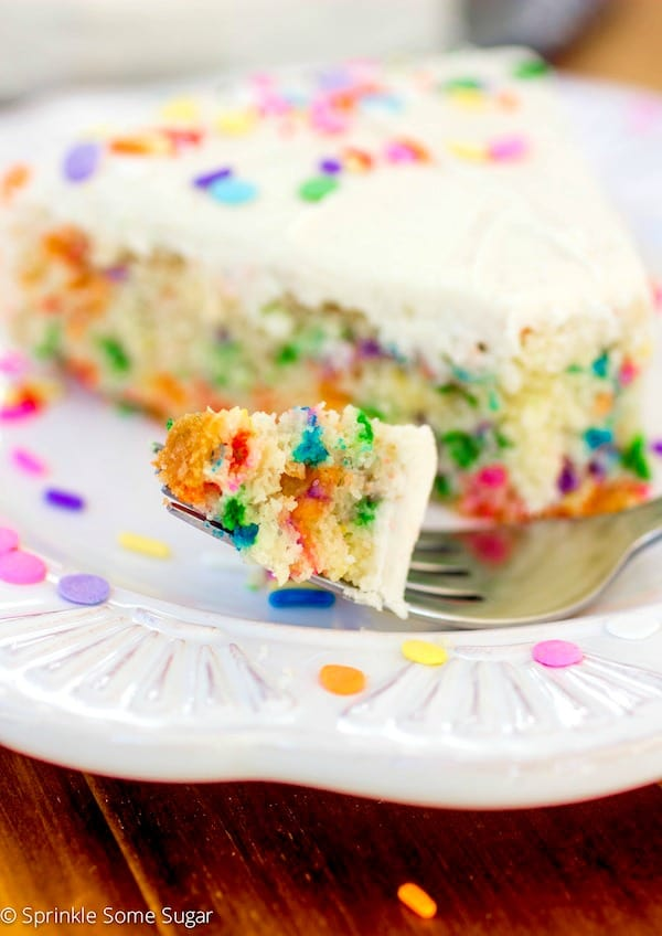 Homemade Funfetti Cake with Fluffy Vanilla Frosting - Sprinkle Some Sugar