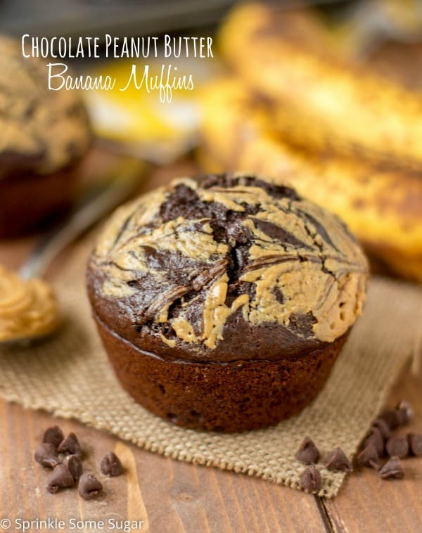 Chocolate Peanut Butter Banana Muffins - Sprinkle Some Sugar