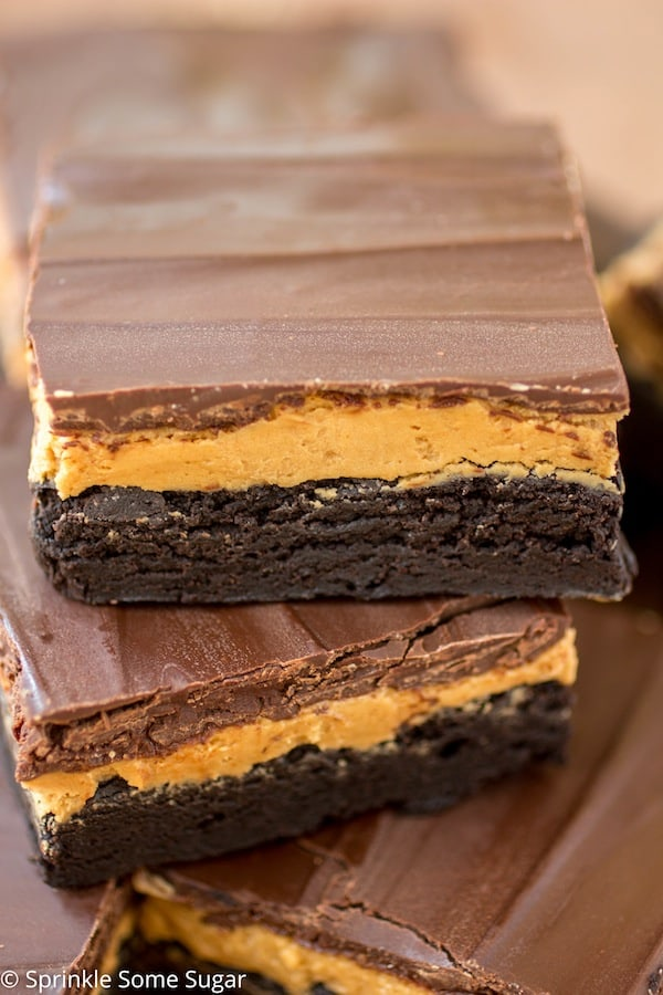 Cookie Butter Truffle Brownies stacked.