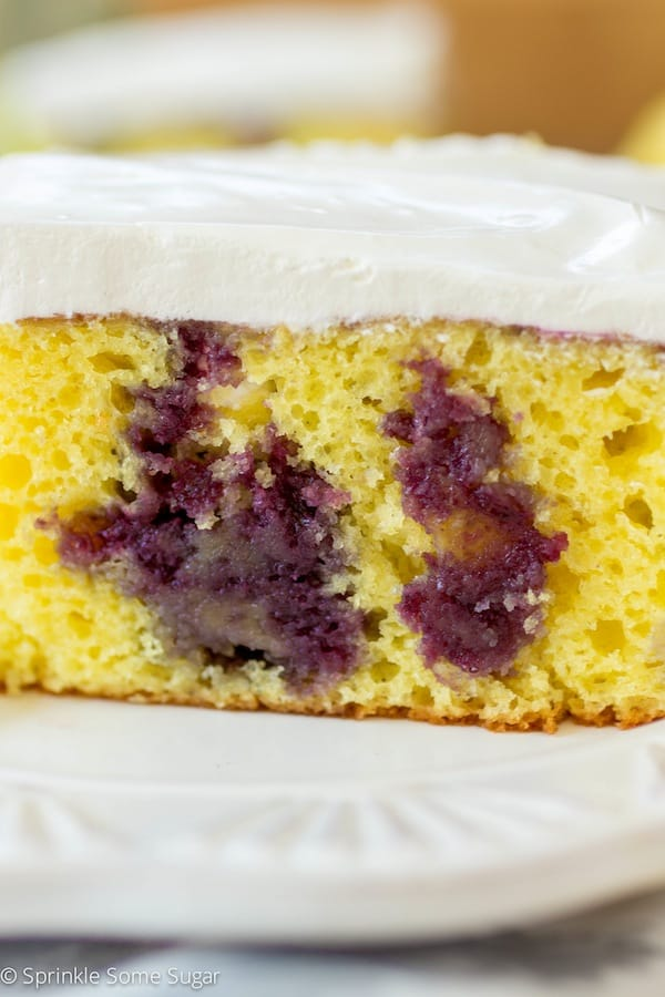 Lemon Blueberry Poke Cake - Sprinkle Some Sugar