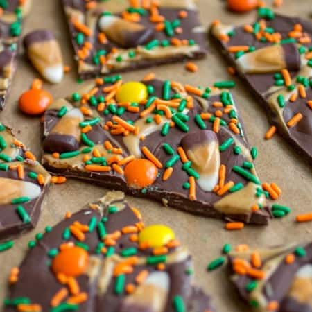 Peanut Butter Swirl Chocolate Candy Corn Bark - Sprinkle Some Sugar