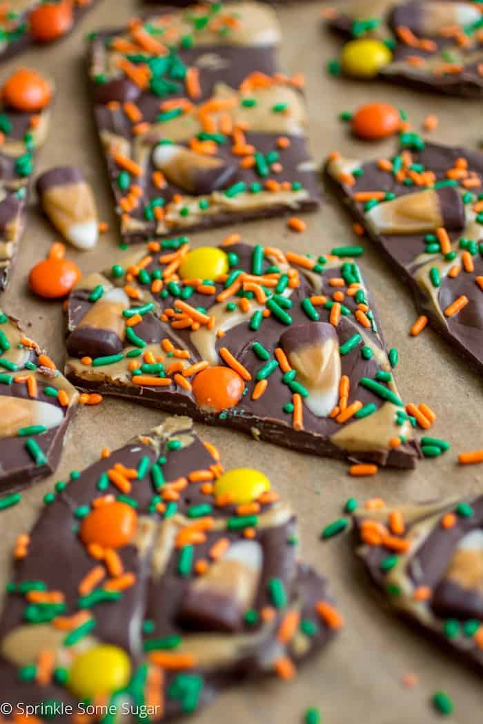 This Peanut Butter Swirl Chocolate Candy Corn Bark is a super fun ...