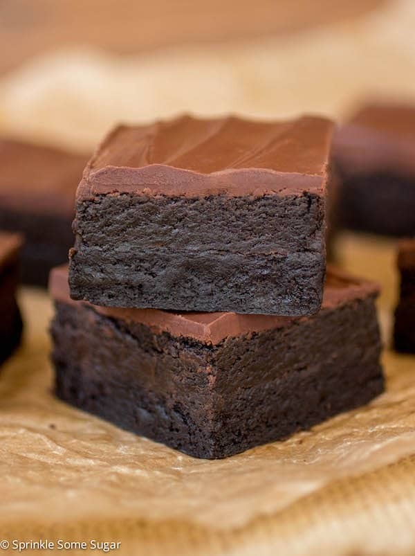 Triple Dark Chocolate Truffle Brownies stacked.