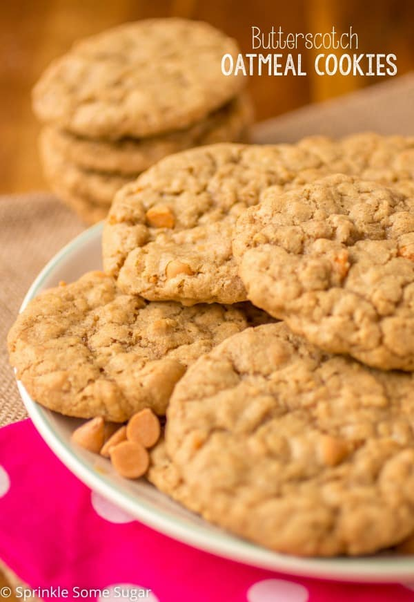 Butterscotch Toffee Oatmeal Cookies - Sprinkle Some Sugar