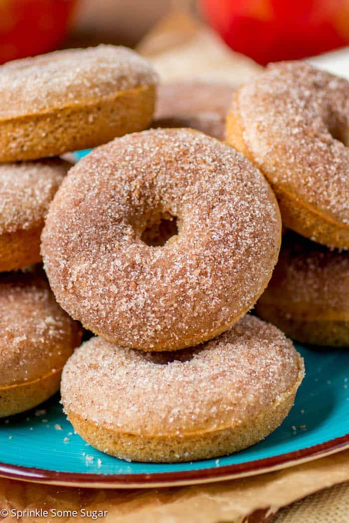 Plate full of apple cider donuts.