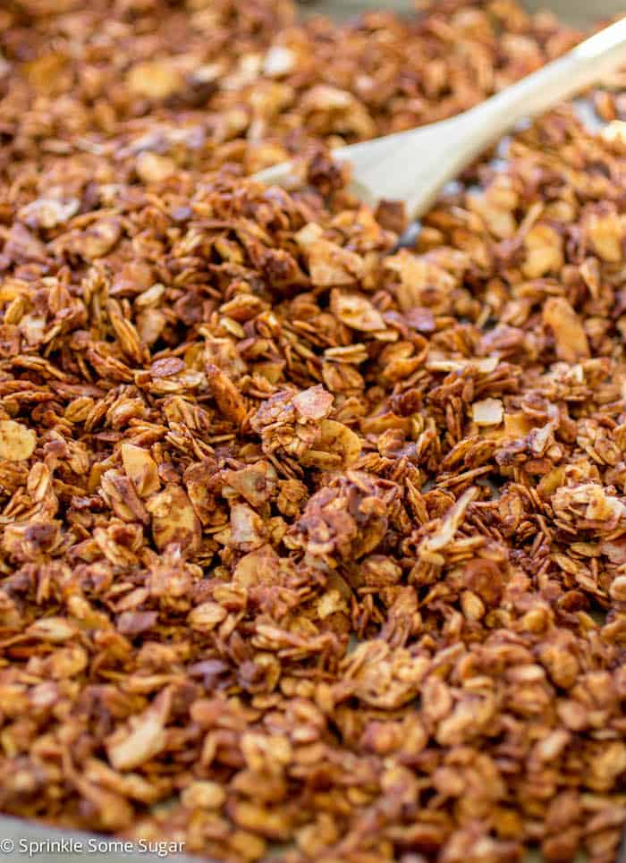 Dark Chocolate Coconut Almond Granola - Sprinkle Some Sugar