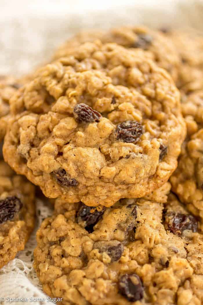 Classic Soft and Chewy Oatmeal Raisin Cookies - Sprinkle Some Sugar