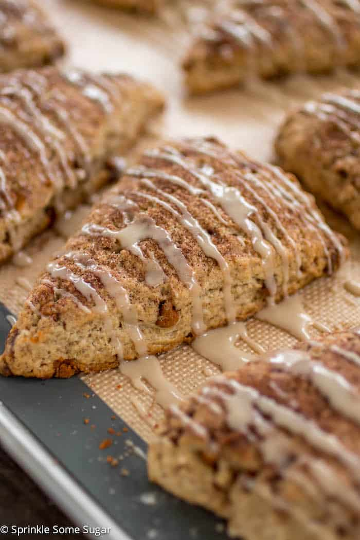 Cinnamon Roll Scones - My favorite scones are loaded with cinnamon and topped with a sweet glaze that makes them taste just like a cinnamon roll!