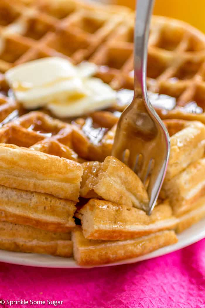 Buttery Golden Buttermilk Waffles - Sprinkle Some Sugar