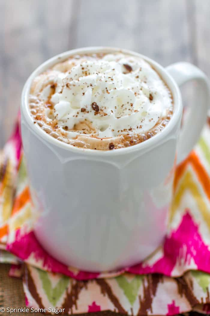 Slow Cooker Mexican Hot Chocolate - Hot Chocolate infused with cinnamon, nutmeg and chili powder to give it a depth of flavor you wouldn't believe until you tried it!