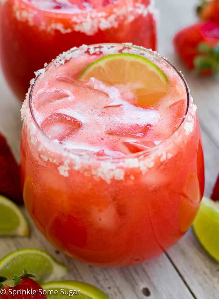 Fresh Strawberry Margaritas Sprinkle Some Sugar