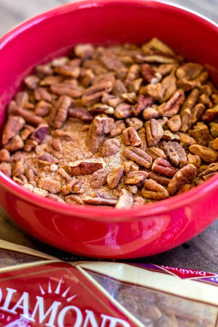 Pecan Cinnamon Roll Bundt Cake - This cake is so soft with a gooey cinnamon swirl in the center! All of the flavors you love about a cinnamon roll, in a super easy cake!