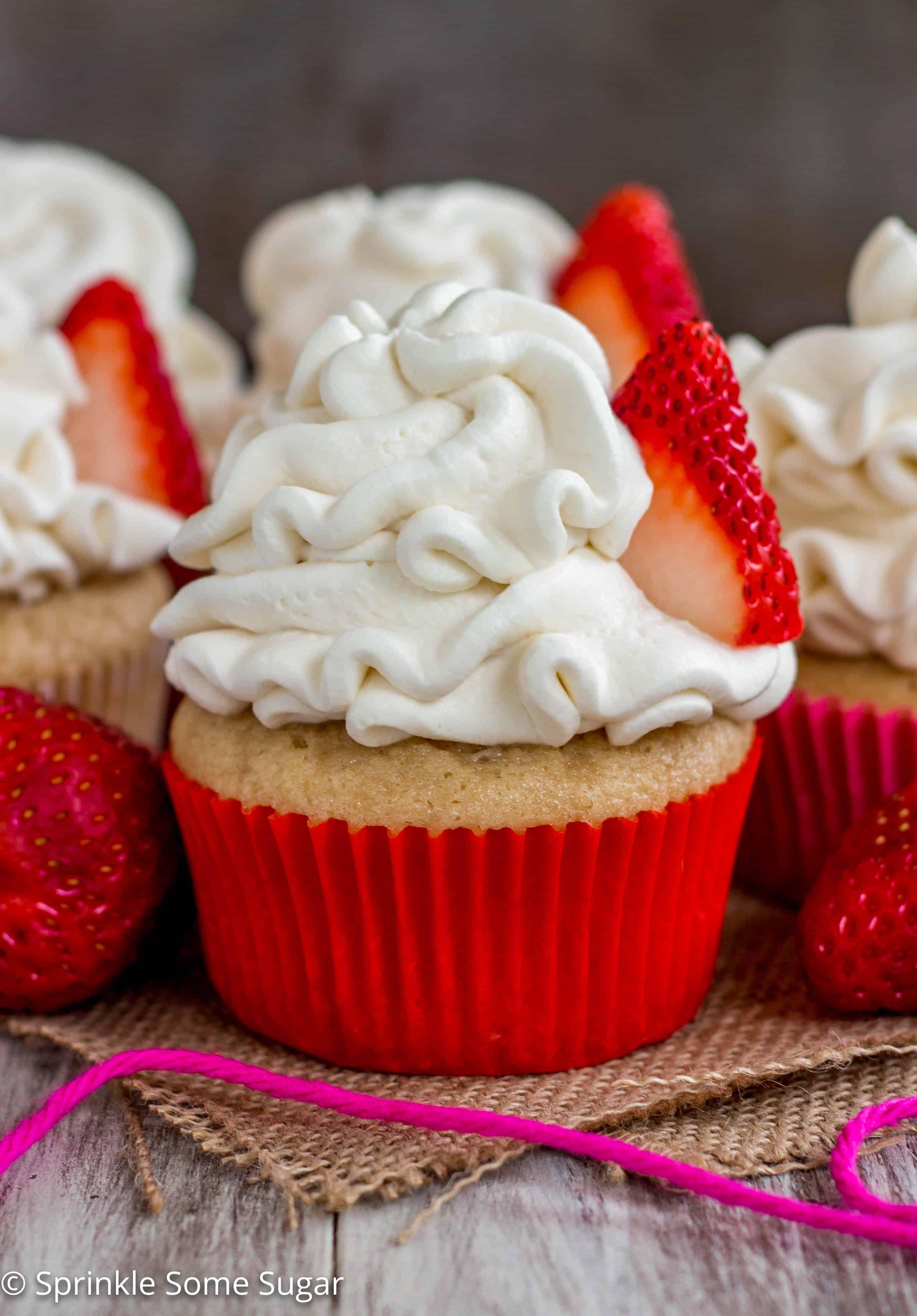 Strawberry Shortcake Cupcakes - Sprinkle Some Sugar