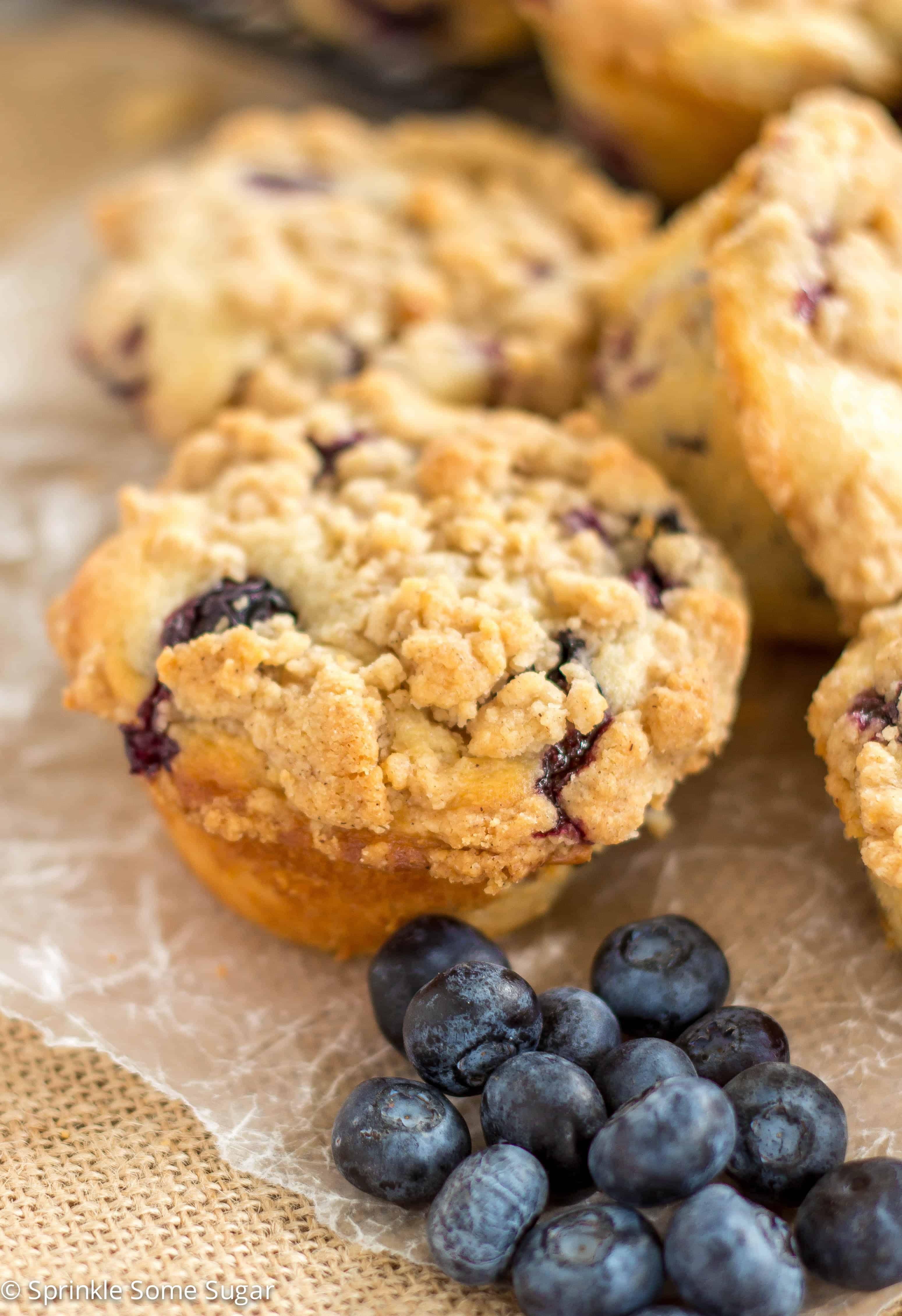 Start your morning off right with a warm blueberry crumb muffin! - Blueberry Crumb Muffins