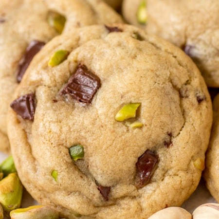 Pistachio Dark Chocolate Chunk Cookies - Buttery cookies filled with pistachios and melty dark chocolate!