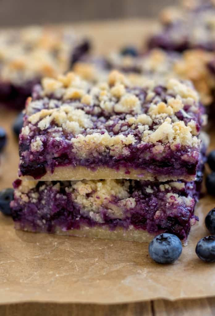 Coconut Blueberry Bars - Gooey blueberry coconut bars with a shortbread-like crust and a deliciously sweet crumb topping.