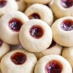 Jam Filled Vanilla Thumbprint Cookies